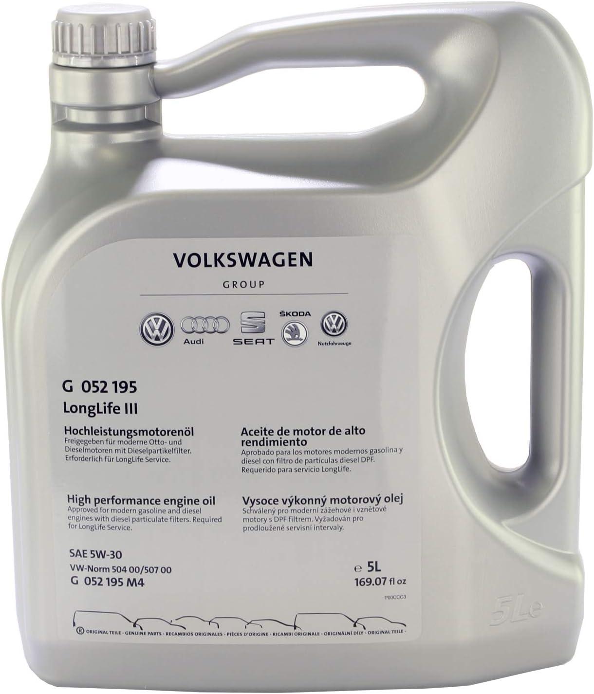 2 x 1l + 5L=7 L Original VW 5 W de 30 Longlife III Motor de aceite motores de aceite g052195 m2: Amazon.es: Coche y moto