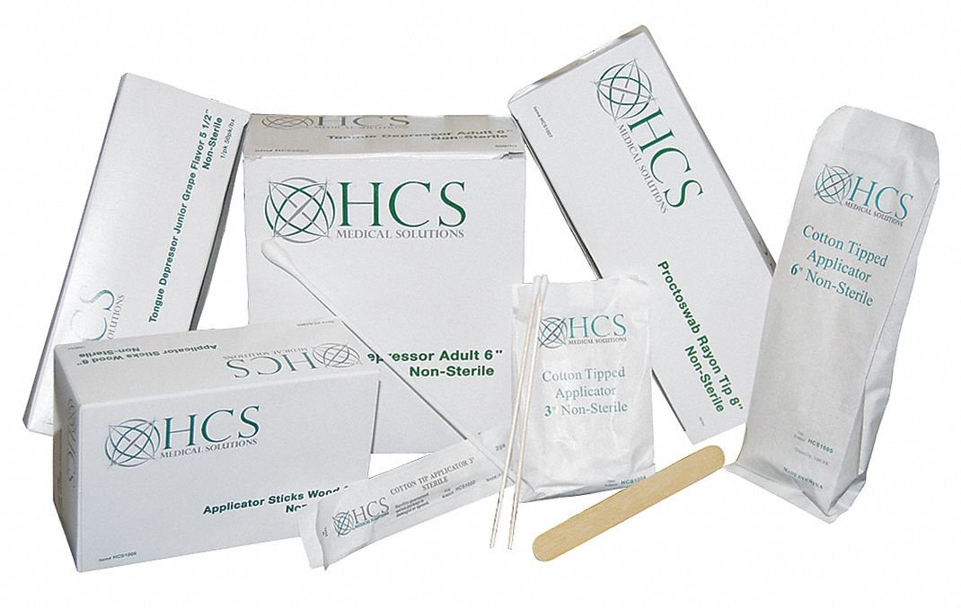 Non-Sterile Single-Tip Cotton Tip Swab with Wood Handle, 3''L, 10000 PK by HCS (Image #1)