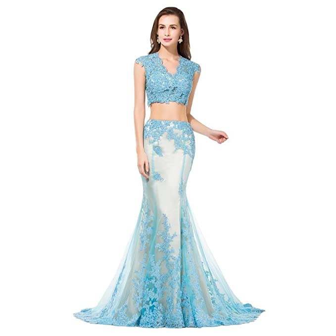 572f6a1cd8d15 Mermaid 2 Pieces Split Blue Lace with Champagne Crystals Formal Evening  Prom Dresses US