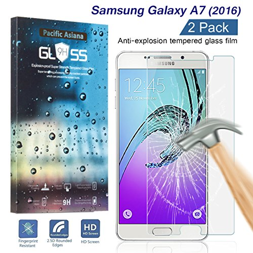 [2-Pack] Samsung Galaxy A7 2016 Tempered Glass Screen Protector, Pacific Asiana HD Crystal Clear Ultra Thin [9H Hardness] [Scratch Proof] Glass Protector Skin Cover with Lifetime Replacement (Crystal Skin Cover)