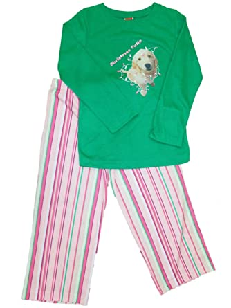 a70ea4450d Girls Christmas Cutie Labrador Dog Pajamas Pink   Green Holiday Sleep Set  Medium