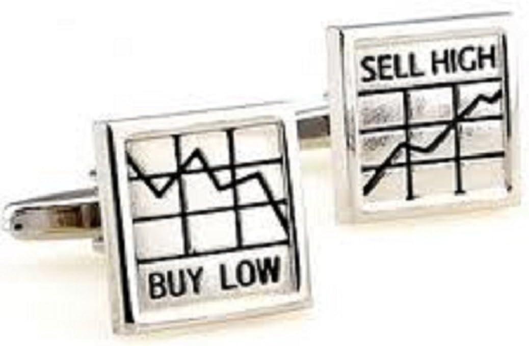 MRCUFF Presentation Gift Box Buy Low Sell High Stockbroker Wall Street Trader Pair Cufflinks & Polishing Cloth