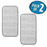mDesign Mini Chevron Kitchen Countertop Dish Drying Mat - Pack of 2, Gray/White
