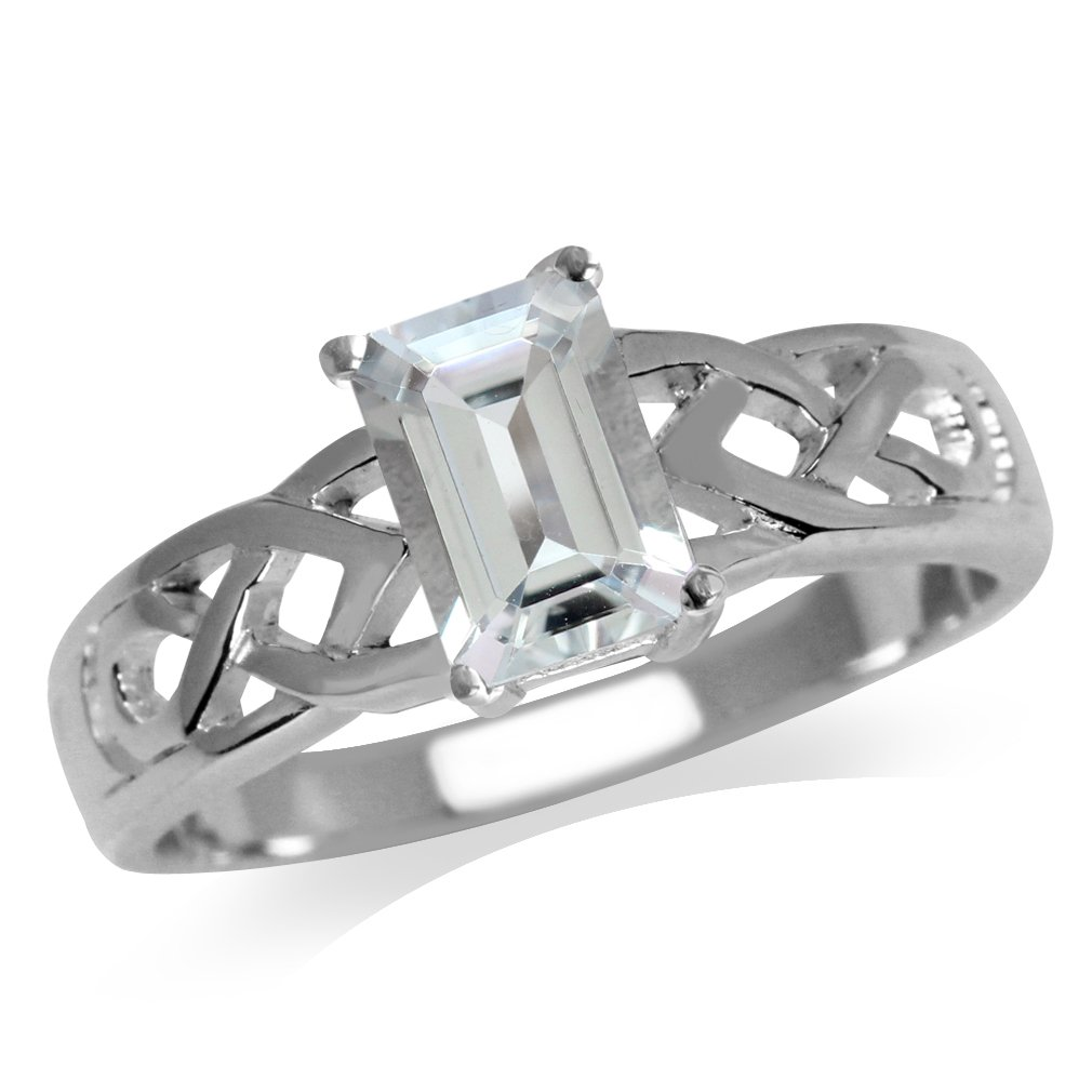 Silvershake 7X5mm Genuine Octagon Shape Aquamarine 925 Sterling Silver Celtic Knot Solitaire Ring