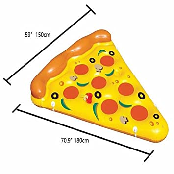 Inflatable Pizza Pool Float Piscina Al Aire Libre Party Giant Pizza Fila Flotante PVC Swimming Ring Flotador De Agua Pizza Water Colchón De Aire Slice Pool ...