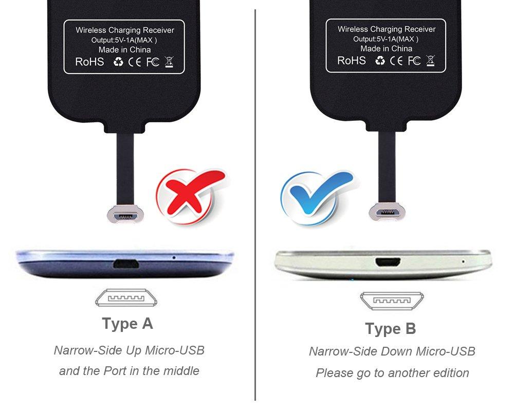 Micro USB di Ricevitore di ricarica senza fili Z5 Huawei Mate - Qi Charger Caricabatterie Rapid Scheda modulo per Android Xperia E5 Galaxy S7 Samsung J3 Moto Lato stretto in alto J5 A8 LG