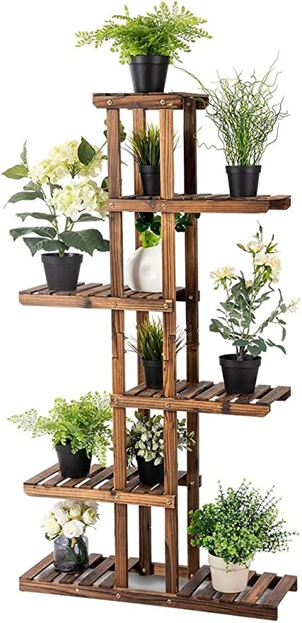 Amazon Com Happygrill Plant Stand Flower Rack Wooden 7 Tier Shelves Bonsai Display Shelf Stand For Indoor Outdoor Yard Garden Patio Garden Outdoor