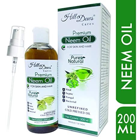 HillDews Neem Oil | 200ml | Pure | Natural | Unrefined | Cold Pressed |  Skin & Hair