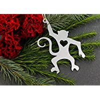 Iron Maid Art Love Monkey Animal Christmas Ornament Rustic Aluminum for Her Him Home Fall Decor Wedding Favor Thanksgiving