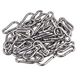 Yibuy 100x Multifunctional Spring Snap Quick Link Lock Carabiner Stainless M4 40mm
