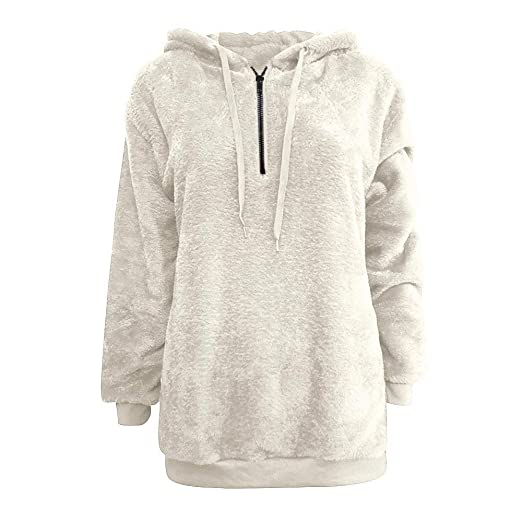 Amazon.com: Sunward Womens Oversized Warm Fuzzy Zipper Hoodies Casual Loose Pullover Hooded Sweatshirt Outwear S~5XL (L, Beige): Pet Supplies