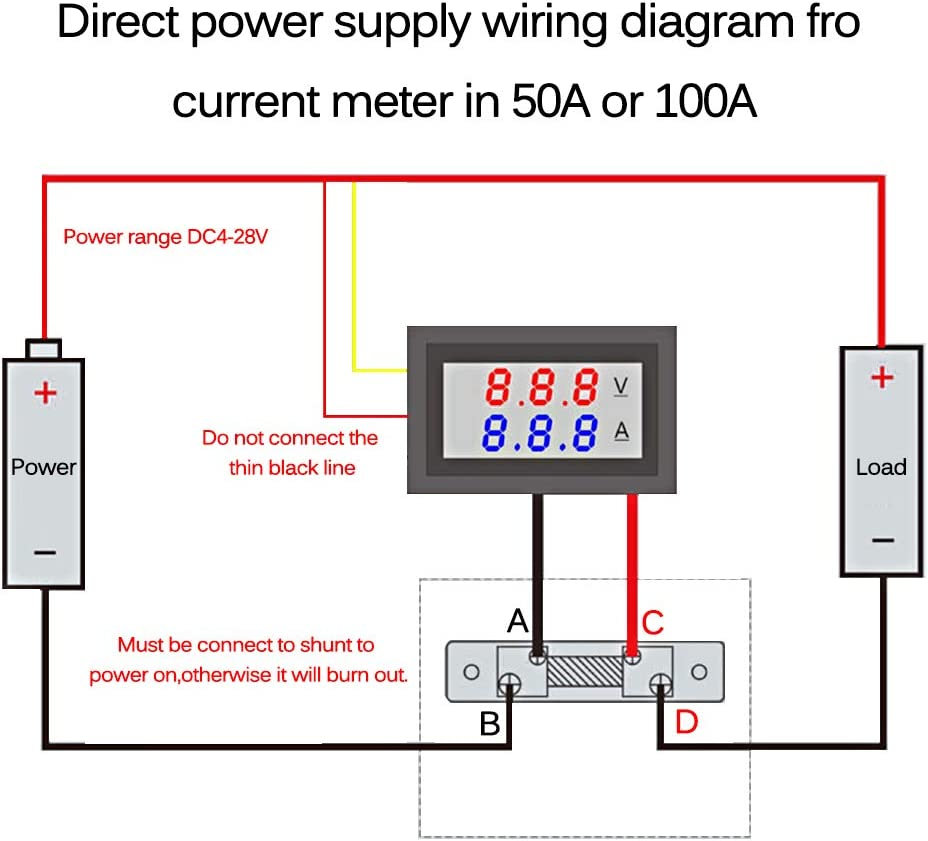 KKmoon Voltmeter Amperemeter 0,28LED 100V 50A Spannungsstrom Tester Blau Rot Dual Digital Display