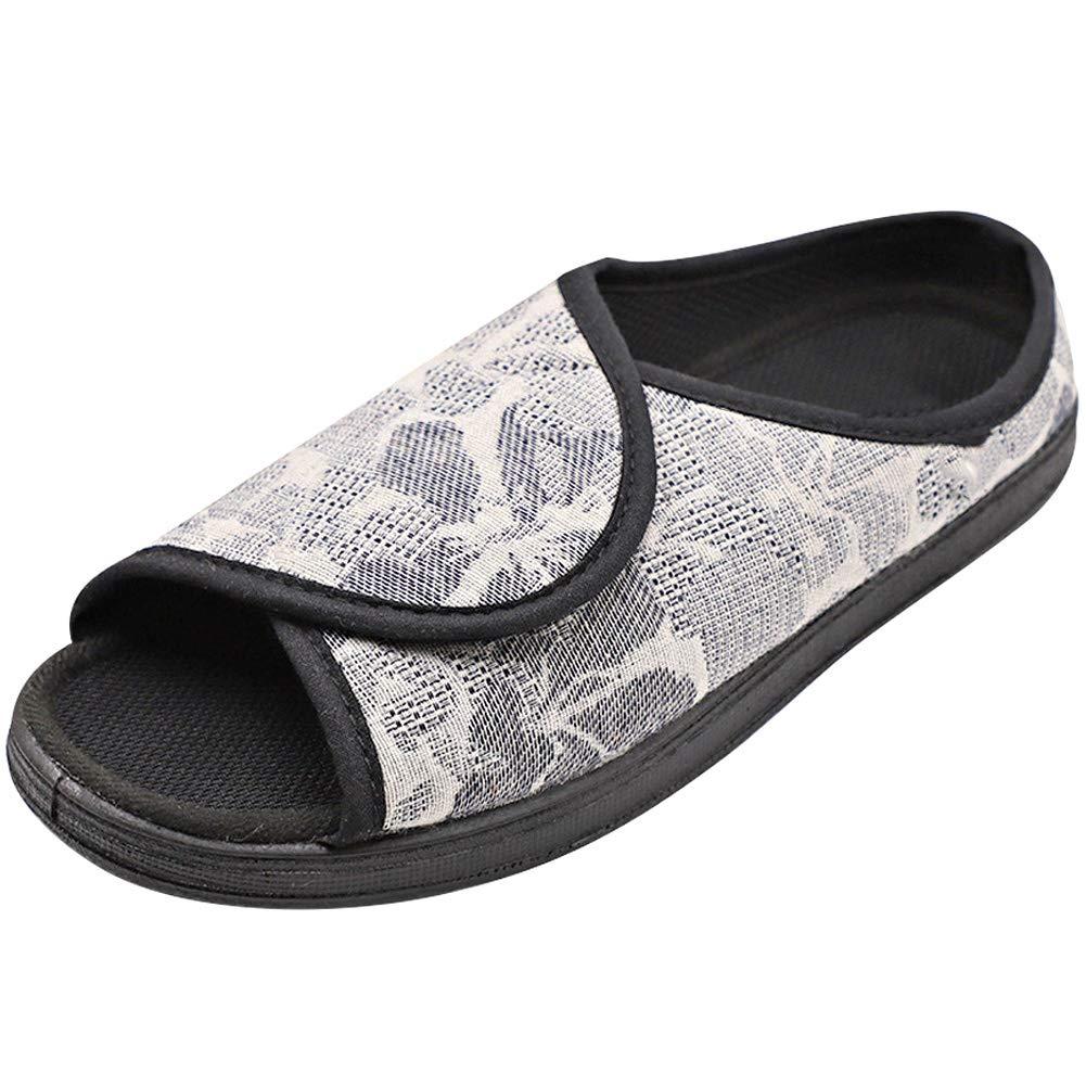 f501656146367 MEJORMEN Womens Diabetic Slippers House Shoes Adjustable Sandals Open Toe  Slip On Comfortable for Elderly Woman Edema Arthritis Swollen Feet
