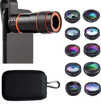 TECHVIDA - Lente de teléfono móvil 11 en 1, kit de objetivo para smartphone, 8 lentes de