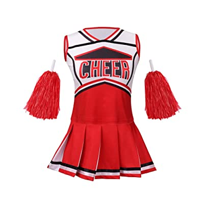 yolsun Cheerleader Costume for Girls Halloween Cute Uniform Outfit: Clothing