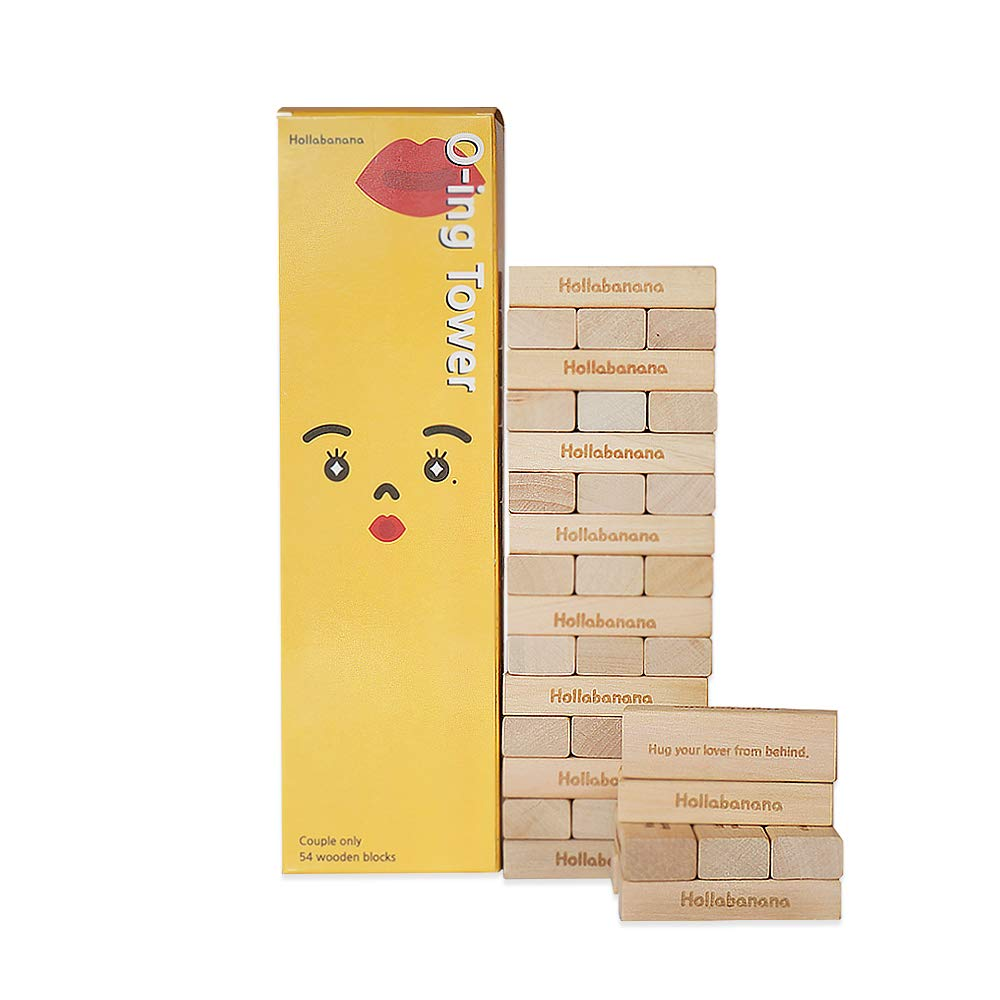 [O-ing Tower] Love & Naughty Stacking Tower Wooden Blocks Funny Couple Game for Adults - 54 Wooden Blocks with Truth or Dare Questions and Challenges by Holla Banana