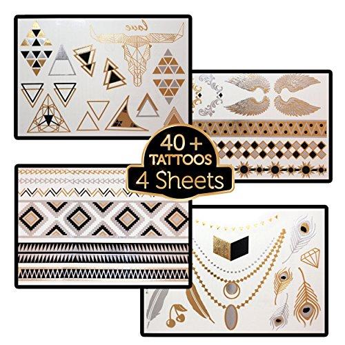 Flash tatouages temporaires 4 Feuilles - Feel Magnifique et look élégant dans votre Luxury Collection Trendsetter - Ne soyez pas dupé par des imitateurs à bas prix - Achetez vos bijoux en or Designs, noir et argent - Vous possédez votre style avec notre