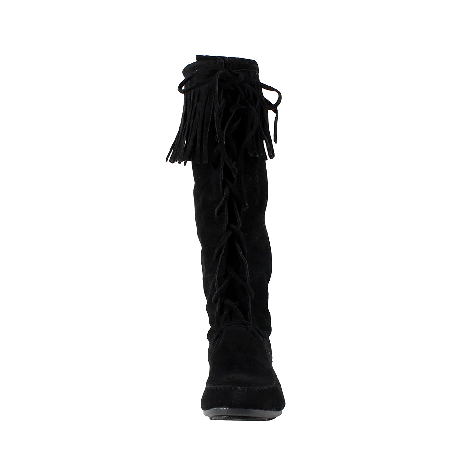 Minnetonka suede leather knee high tall lace up moccasin fringe boots - Amazon Com Forever Baylee 09 Women S Fashion Fringe Lace Up Knee High Boots Mid Calf