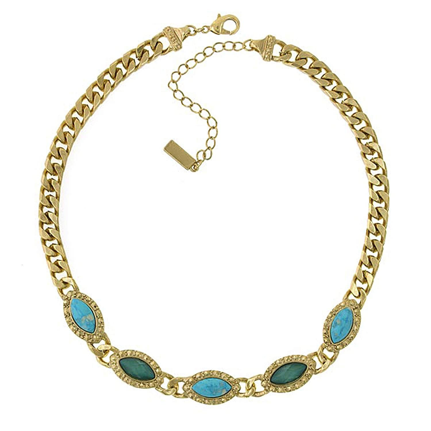 1928 Jewelry Gold-Tone Green and Turquoise Color Collar Chain Statement Necklace 16 Adj.