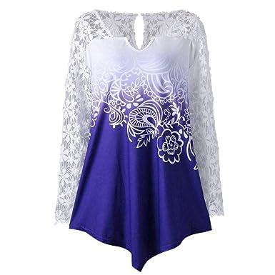 Qvyh Fashion Printing Lace Long Sleeve Casual Irregular Tops at Amazon Womens Clothing store: