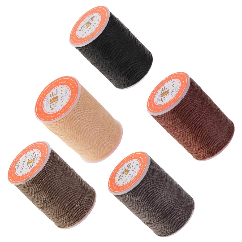 Laliva 5Pcs Waxed Thread 0.65mm Round Beading Cord DIY Jewelry Necklace Making String Upholstery Shoes Luggage Leather Sewing by Laliva