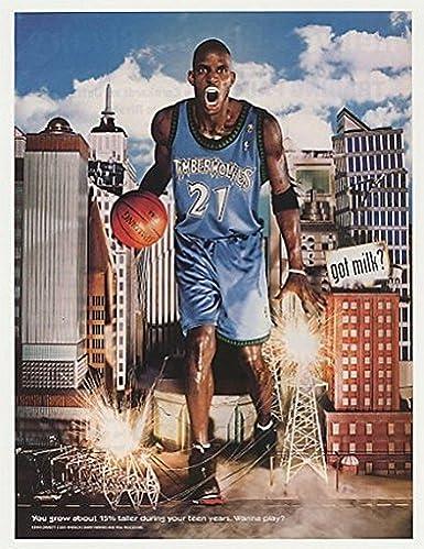 5f8f1464754f6 Amazon.com: 2001 Timberwolves Kevin Garnett Got Milk? Photo Print Ad ...