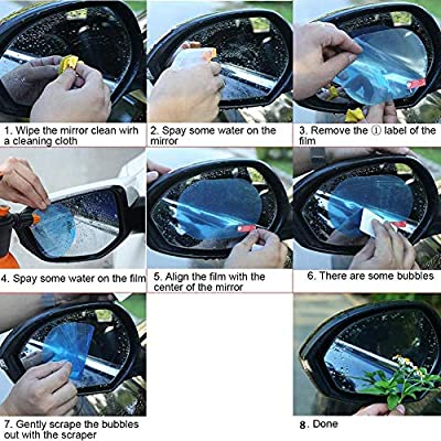 Anti Fog Film Car Rear View Mirror Waterproof Film Protective Film Anti Glare Rain-Proof Anti Water Mist, HD Nano Film Anti-Glare,Anti-Scratch,Rainproof: Automotive
