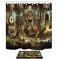 NYMB Science Fiction Shower Curtain, Machinery Clock Steampunk Steel Industrial City, 69X70in Mildew Resistant Shower Curtain Set With 15.7x23.6in Flannel Non-Slip Floor Doormat Bath Rugs