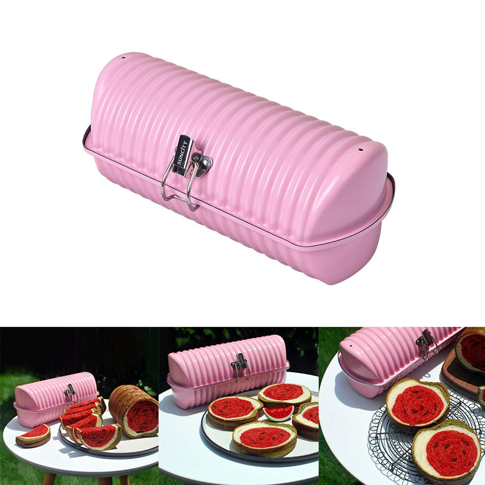 Loaf Pan 10x5 With Lid for Baking 1lb Bread Pan Millennial Pink Round Nonstick Stainless Steel Instant Pot Dishwasher Safe ...