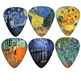Vincent Van Gogh Guitar Picks - Celluloid Medium 12 Pack - Starry Night Sunflowers Cafe by Creanoso - Best Gifts for Guitarist - Limited Time Deal