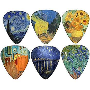 Vincent Van Gogh Guitar Picks - Celluloid Medium 12 Pack - Starry Night Sunflowers Cafe by Creanoso - Best Stocking Stuffer Gifts for Men Women Guitarist - Limited Time Deal