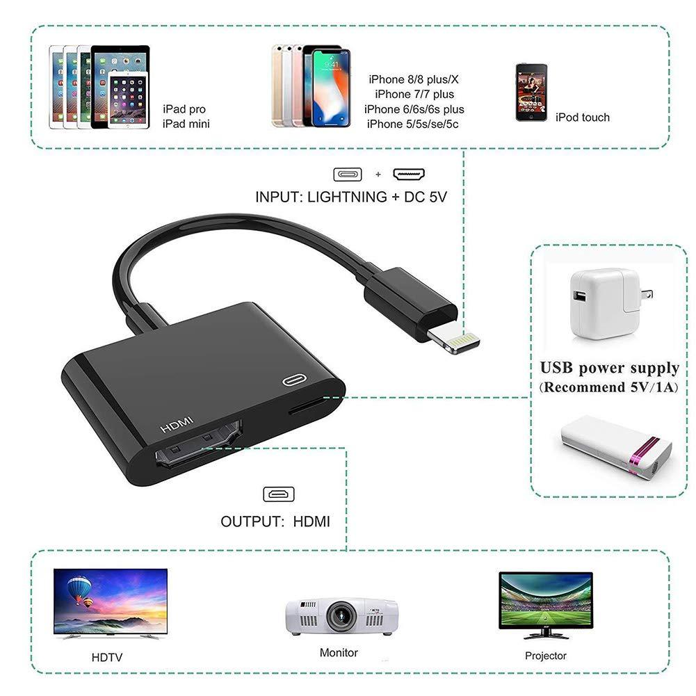 Abboard 1080P 8 Pin Lightning a HDMI TV AV Adaptador Cable para iPhone X 6S 7 8 Plus iPad