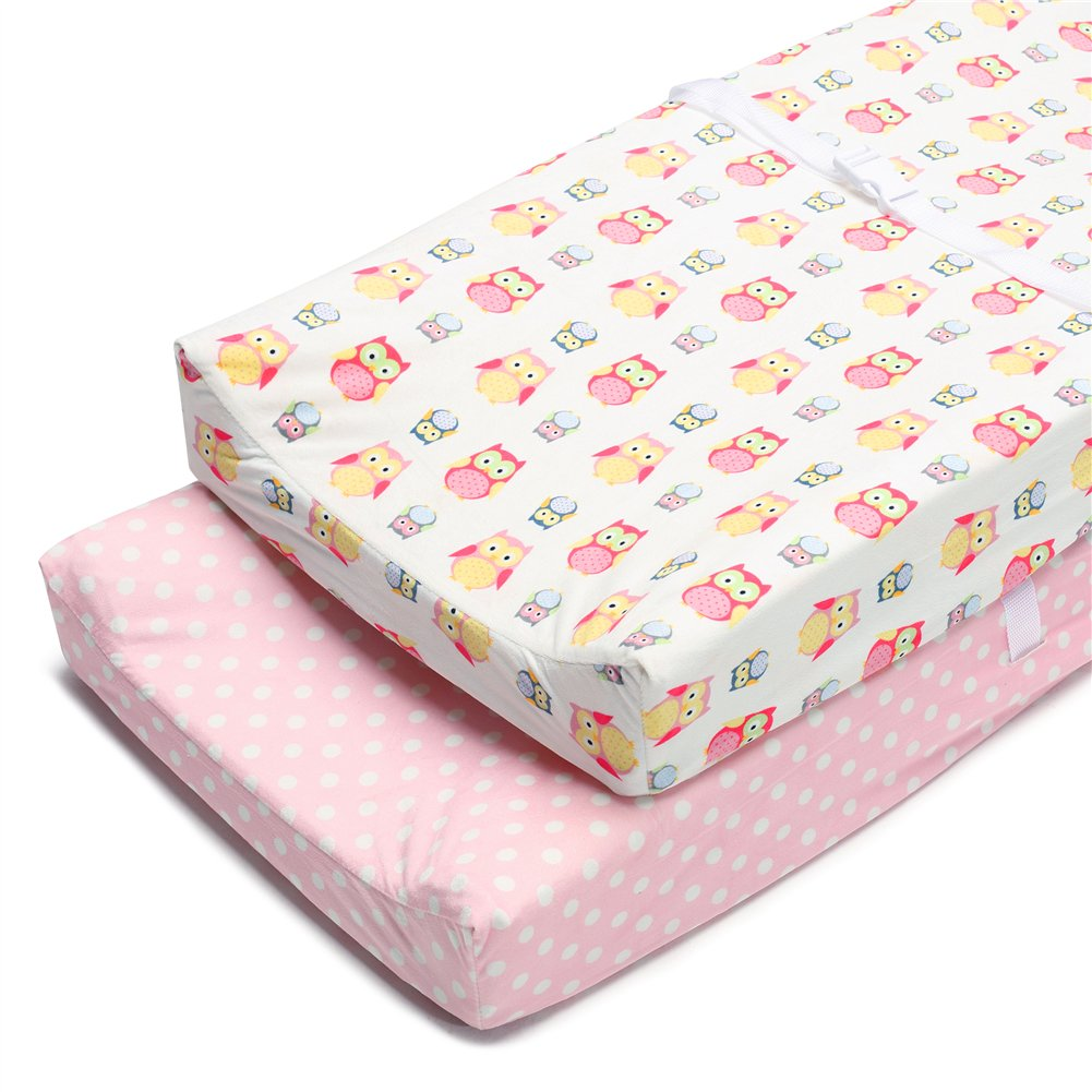 Boritar Changing Pad Covers Pink for Girls Super Soft and Semi-Waterproof 2 Pack Set, Lovely Owls and Dots Printed 16''×32''
