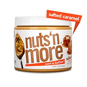 Nuts 'N More Salted Caramel Peanut Butter Spread, All Natural High Protein Nut Butter Healthy Snack, Omega 3's, Antioxidants, Low Carb, Low Sugar, Gluten-Free, Non-GMO, no preservatives,16 oz Jar