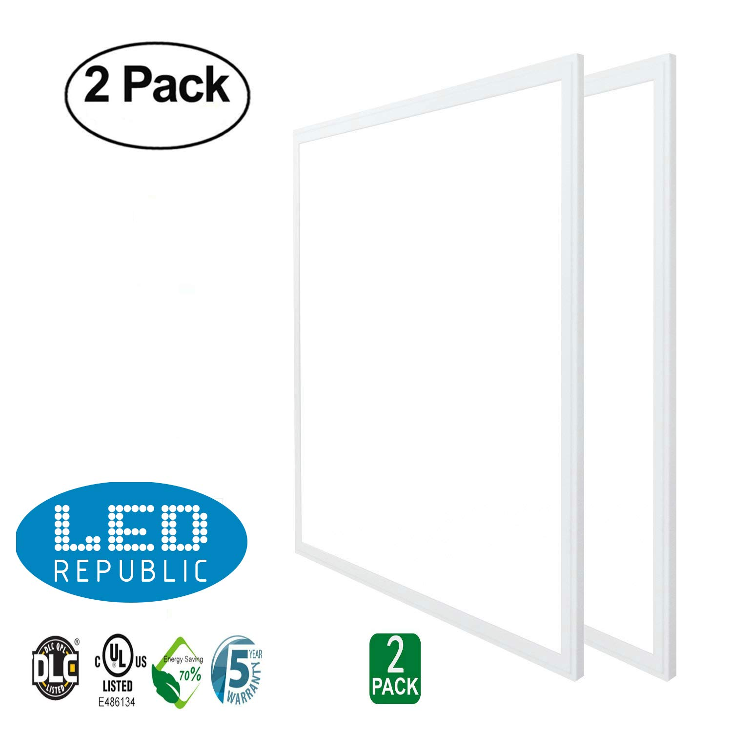 LED Republic Panel Light 2x2 24 x24 40W 140W Equivalent 4300 Lumens 5000K Daylight Cool White DLC & UL 2 PACK Amazon