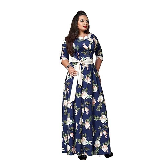 LINNUO Vestidos Talla Grande Maxi Mujer Vestir Impreso de Fiesta Noche Dress con Cinturón (Azul