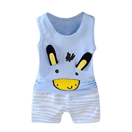 b9e3bee1bfb Moonker 2Pcs Toddler Baby Girls Boys Summer Shorts Outfits Cartoon Vest  Tops Shorts Set For 1