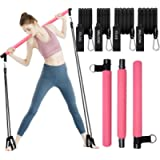 Pilates Exercise Stick Kit with 4 (2 Strong & 2 Standard) Resistance Bands,Portable Compact 3-Section Yoga Resistance…