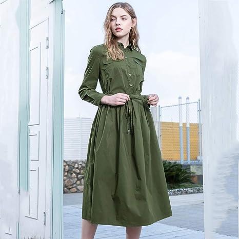 HECHEN Vestido de Mujer, Camisa de Manga Larga elástica, Falda ...