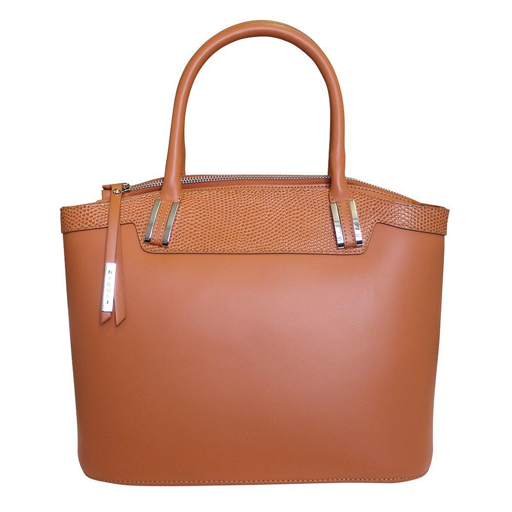 Nicoli 'Eleganza' Designer Italian Leather Tote Bag Grab Handbag Wedding Bag - Tan