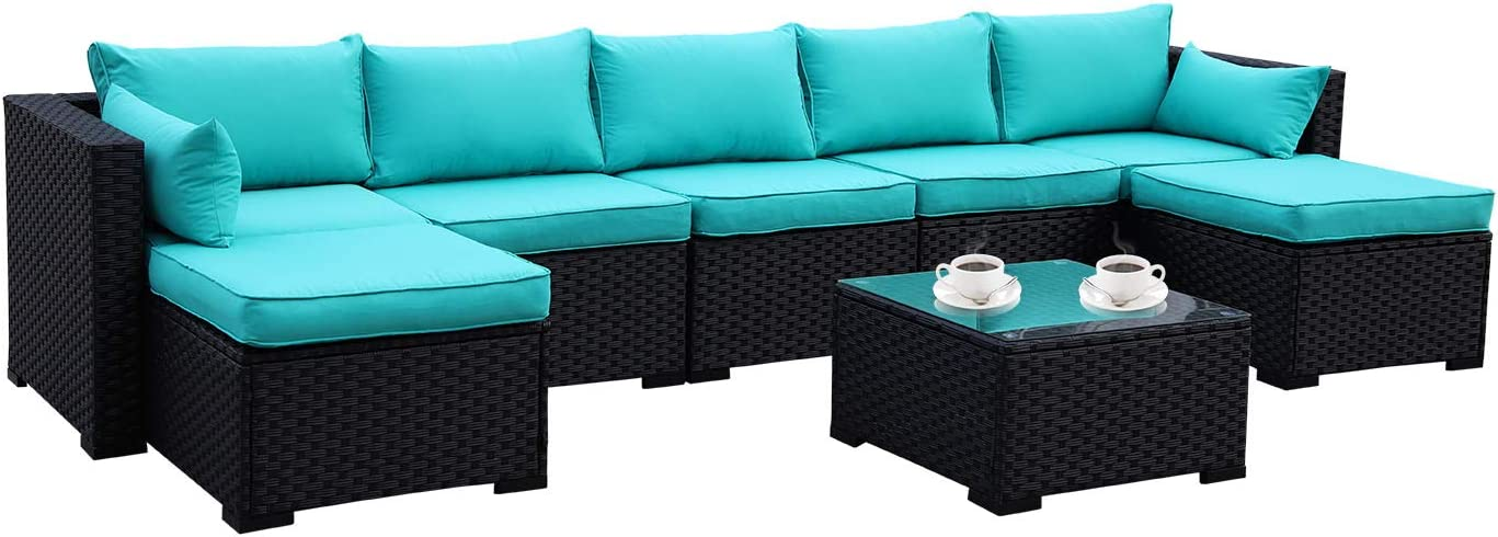 Outdoor PE Rattan Furniture Set 6 Piece Patio Wicker Sectional Sofa Chair with Turquoise Cushion