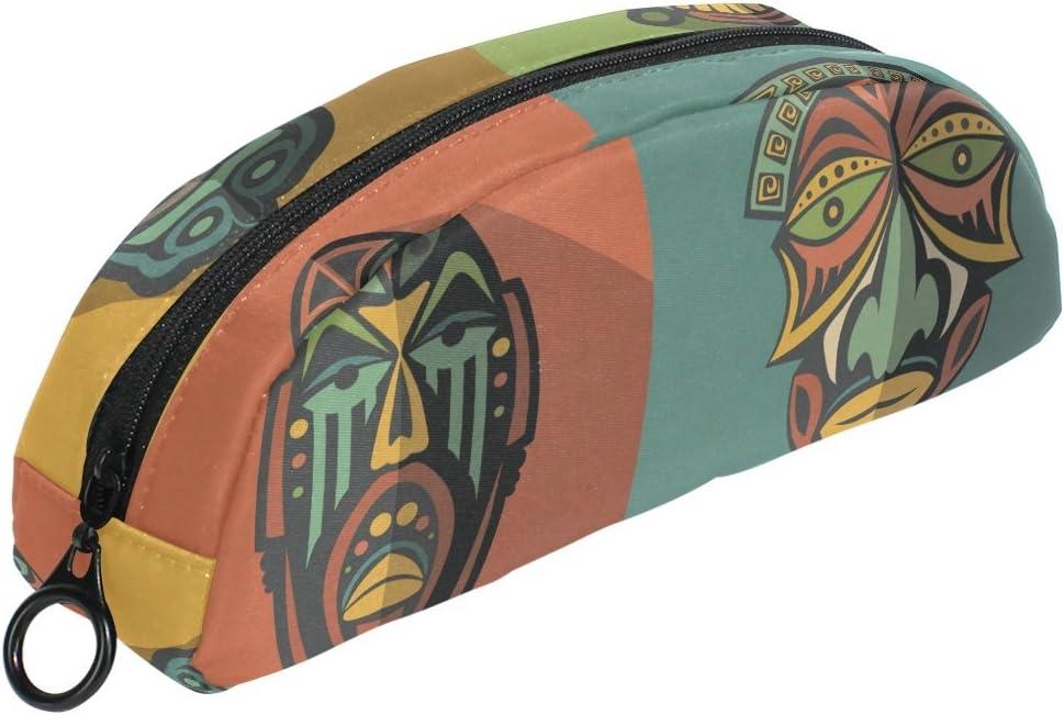 COOSUN Set de Mascarillas Tribales Etnicas Africanas Estuche Semicircular Estuche de Papelería Bolso Soporte Estuche Bolsa de Maquillaje Cosmético Bolso para Mujer Niña: Amazon.es: Oficina y papelería