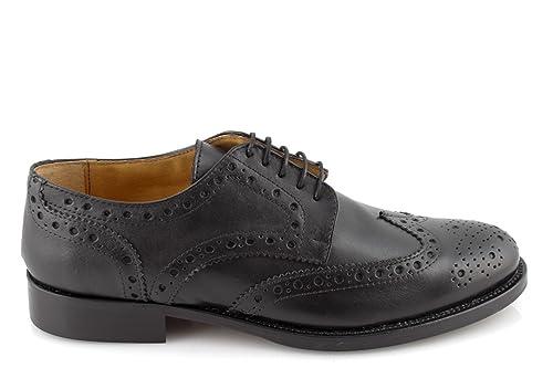 scarpe uomo eleganti classiche nere francesine vera pelle fondo cuoio made  IN ITALY 45  Amazon.it  Scarpe e borse 749b56a0697