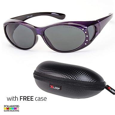 POLARIZED Rhinestone cover put over Sunglasses wear Rx glass fit driving Purple