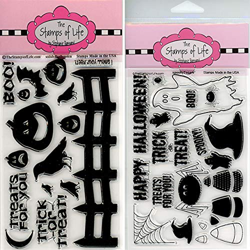 Spooky Halloween Stamps for Card-Making and Scrapbooking - Solids4Halloween and Spooky2Scare Combo Pack by The Stamps of Life -