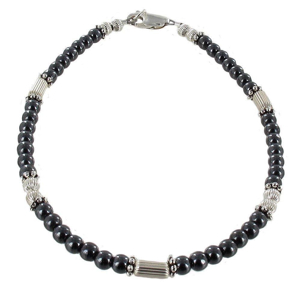 Timeless-Treasures Womens Hematite (Hemalyke) & Sterling Silver Ladies Beaded Anklet with Daisies - 10''