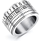 JAJAFOOK Men Fashion Vintage 316L Stainless Steel Spinner Arabic Numerals Time Index Finger Ring