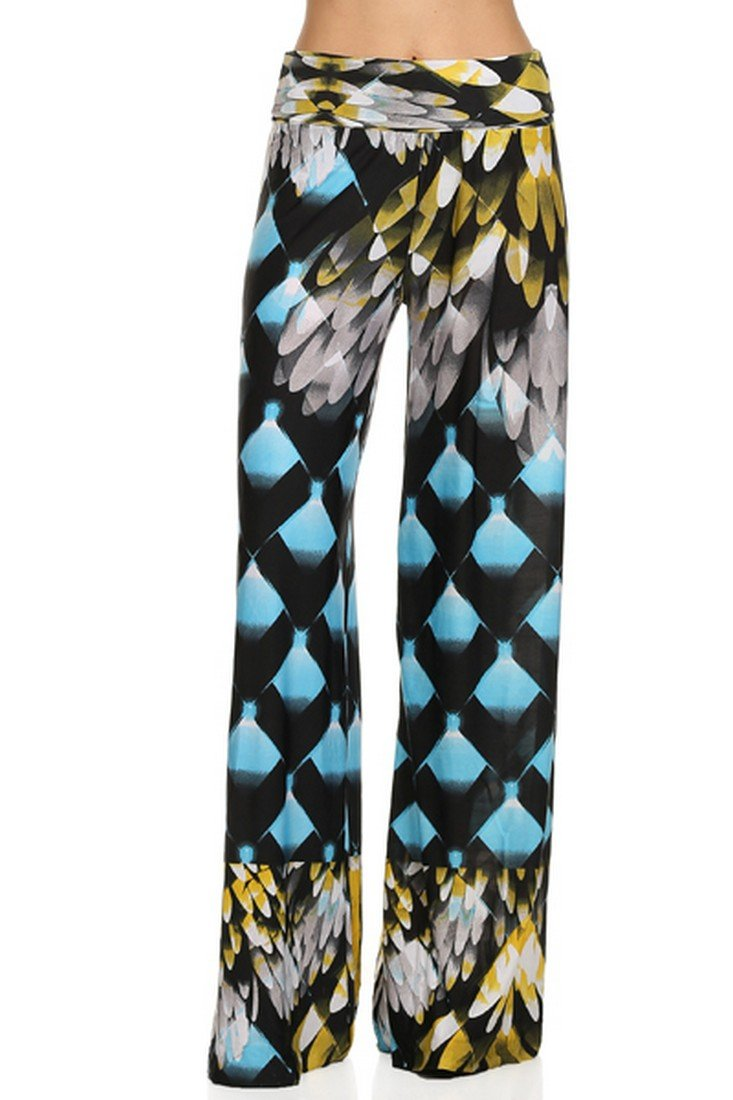 ICONOFLASH Women's Large Eagle Wings Wide Leg Palazzo Pants with Fold-Over Waist
