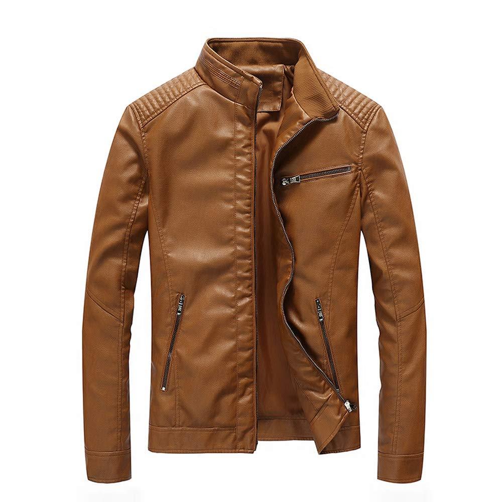 Mounter Men Leather Jacket, Autumn Winter Fashion Waterproof Motorcycle Zipper Pocket Stand Collar Imitation Leather Coat Bomber Long Sleeve Tops