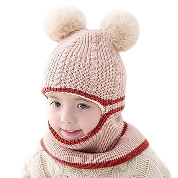 47122cce2997 Fablcrew 1Pcs Chapeau Bonnet Enfant Hiver Bébé Fille Garçon Ensemble Bonnet  Echarpe Chaudes Bonnet Tricoté 2